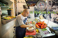 Lima, Peru- March 19, 2015: Owner José Antonio Castro Mendívil marinates the catch of the day with Peruvian limes at Hijo de Olaya. With some 16,000 cevicherias in the city it's hard to stand out, but Hijo de Olaya has managed to do just that by providing fast service and the freshest product. CREDIT: Chris Carmichael for The New York Times