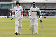 Neil Dexter & Hassan Azad at Tea during the Specsavers County Champ Div 2 match between Leicestershire County Cricket Club and Gloucestershire County Cricket Club at the Fischer County Ground, Grace Road, Leicester, United Kingdom on 17 June 2019.