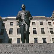 Massachusetts, Boston; Beacon Hill; Statue Of John F. Kennedy Outside Massachusetts State House