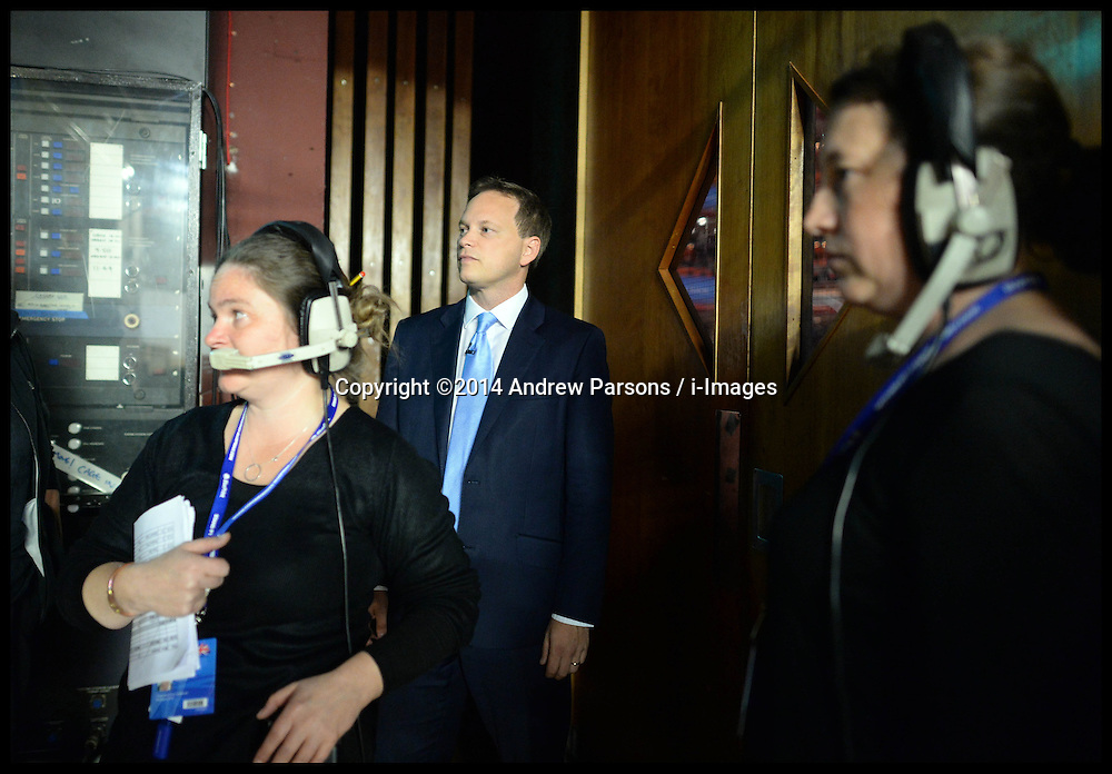 Image ©Licensed to i-Images Picture Agency. 28/09/2014. Birmingham, United Kingdom. Grant Shapps behind the stage before making his  speech to the  Conservative Party Conference.Picture by Andrew Parsons / i-Images