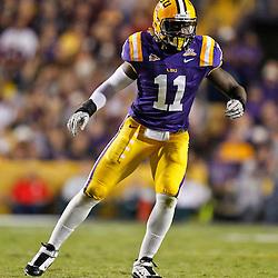 November 13, 2010; Baton Rouge, LA, USA; LSU Tigers linebacker Kelvin Sheppard (11) on the field during the first half against the Louisiana Monroe Warhawks at Tiger Stadium.  Mandatory Credit: Derick E. Hingle