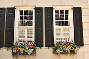 Flowers blooming in window boxes with traditional shutters in historic Charleston, SC.