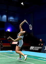 Emily Westwood of Bristol Jets watches the shuttlecock onto her racket - Photo mandatory by-line: Robbie Stephenson/JMP - 07/11/2016 - BADMINTON - University of Derby - Derby, England - Team Derby v Bristol Jets - AJ Bell National Badminton League