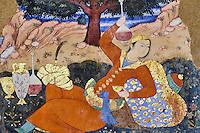 Iran, province d'Ispahan, Ispahan, Palais de Chehel Sotun, peinture murale, homme persan buvant du vin // Iran, Isfahan, Chehel Sotun palace, Persian man drinking wine