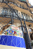 Intricate tile work in Casa Battlo in downtown Barcelona, Spain, one of Antonio Gaudi's most famous buildings.