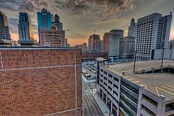 Downtown Kansas City Missouri from top of City Hall parking garage.