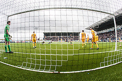 Falkirk's Paul Watson cele scoring their goal. <br /> Falkirk 1 v 0 Morton, Scottish Championship game  played 1/5/2016 at The Falkirk Stadium.