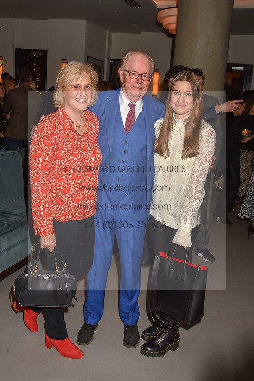 21 November 2019 - Michael Whitehall, Hilary Amanda Jane Whitehall and Molly Louisa Whitehall parents & sister of Jack Whitehall at the launch of Sam's Riverside Restaurant, 1 Crisp Walk, Hammersmith hosted by owner Sam Harrison, Edward Taylor and Jack Brooksbank.<br /> <br /> Photo by Dominic O'Neill/Desmond O'Neill Features Ltd.  +44(0)1306 731608  www.donfeatures.com