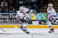 KELOWNA, CANADA - MARCH 25: Cal Foote #25 of Kelowna Rockets passes the puck against the Kamloops Blazers on March 25, 2016 at Prospera Place in Kelowna, British Columbia, Canada.  (Photo by Marissa Baecker/Shoot the Breeze)  *** Local Caption *** Cal Foote;
