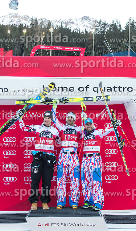29.12.2015, Deborah Compagnoni Rennstrecke, Santa Caterina, ITA, FIS Ski Weltcup, Santa Caterina, Abfahrt, Siegerehrung, im Bild v.l. Hannes Reichelt (AUT, 2. Platz), Adrien Theaux (FRA, 1. Platz), David Poisson (FRA, 3. Platz) // 2nd placed Hannes Reichelt of Austria ( L ), winner Adrien Theaux of France ( C ) and 3rd placed David Poisson of France ( R ) during the award winner ceremony of the men's downhill of the Santa Caterina FIS Ski Alpine World Cup at the Deborah Compagnoni Course in Santa Caterina, Italy on 2015/12/29. EXPA Pictures © 2015, PhotoCredit: EXPA/ Johann Groder