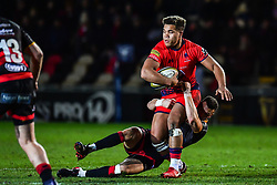 Ollie Lawrence of Worcester Warriors is tackled by Ashton Hewitt of Dragons - Mandatory by-line: Craig Thomas/JMP - 02/02/2018 - RUGBY - Rodney Parade - Newport, Gwent, Wales - Dragons v Worcester Warriors - Anglo Welsh Cup