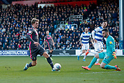 Leeds United forward Patrick Bamford (9) controls the ball just before he is brought down for a penalty kick during the EFL Sky Bet Championship match between Queens Park Rangers and Leeds United at the Kiyan Prince Foundation Stadium, London, England on 18 January 2020.