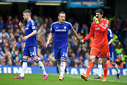 LONDON, ENGLAND - Sunday, May 3, 2015: Chelsea's captain John Terry and goalkeeper Thibaut Courtois during the Premier League match against Crystal Palace at Stamford Bridge. (Pic by David Rawcliffe/Propaganda)