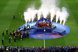 MADRID, SPAIN - SATURDAY, JUNE 1, 2019: Liverpool players celebrate as they lift the trophy after the UEFA Champions League Final match between Tottenham Hotspur FC and Liverpool FC at the Estadio Metropolitano. Liverpool won 2-0 to win their sixth European Cup. (Pic by Handout/UEFA)