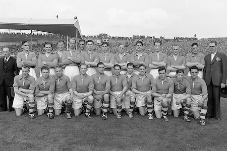 All Ireland Senior Football Championship Final, Armagh v Kerry, 27091953AISFCF, 27.09.1953, 09.27.1953, 27th September 1953, .Armagh Team.front row from left, Gene Morgan, G McStay, I Henderson, G O Neil, Ant O Hagan, Sean Quinn captain, Eamon McMahon, Frank Kernan, Jae O'Hare, Patrick Campbell, P Murphy, back row from left, Gerry Murphy, Patrick O'Neill, Jack Bratton, P McCreesh, Gerry Wilson, Brian Seeley, M O'Hanlon, Jack McKnight, J Cunningham, Malachy McEvoy, J McBreen, William McCorry,   Kerry 0-13, Armagh 1-06,