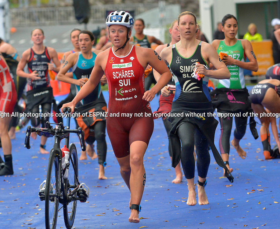 Celine Schaerer heads of on the bike leg of the2015 New Plymouth ITU Triathlon World Cup held at Ngamotu beach New Plymouth Sunday 22nd March.<br /> Photo John Velvin ESPNZ<br /> www.elitesportsphotographynz.com