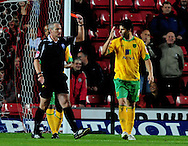Southampton - Tuesday, September 30th, 2008: Dejan Stefanvoc of Norwich City is sent off during the Coca Cola Championship match at Southampton. (Pic by Daniel Hambury/Focus Images)