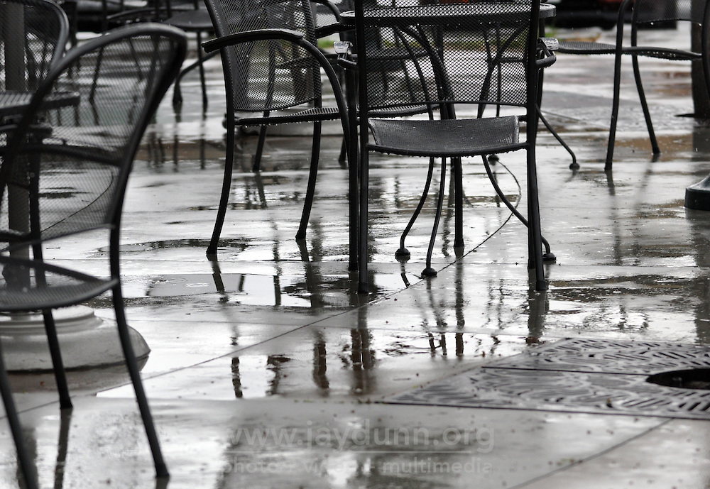 Empty chairs and a wet patio at the Starbucks at Independence and Constitution on Wednesday morning in Salinas.