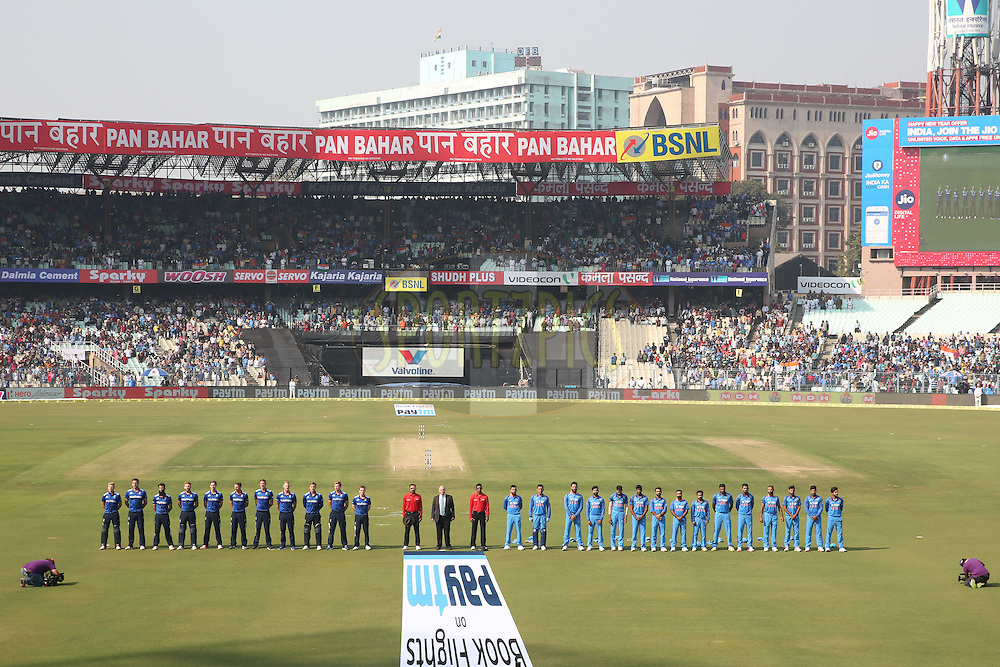 India and England Players Stand for the National Anthem during the third One Day International (ODI) between India and England  held at Eden Gardens in Kolkata on the 22nd January 2017<br /> <br /> Photo by: Deepak Malik/ BCCI/ SPORTZPICS