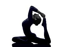 woman exercising Eka Pada Rajakapotasana One Legged King Pigeon pose yoga silhouette shadow white background