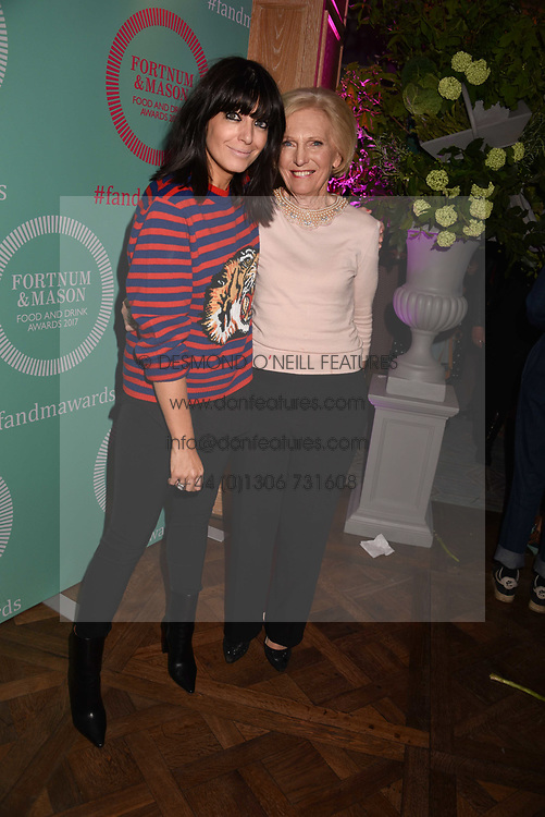 Claudia Winkleman and Mary Berry at the 2017 Fortnum & Mason Food & Drink Awards held at Fortnum & Mason, Piccadilly London England. 11 May 2017.<br /> Photo by Dominic O'Neill/SilverHub 0203 174 1069 sales@silverhubmedia.com
