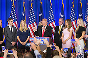 Billionaire and GOP presidential candidate Donald Trump acknowledges cheering supporters along with family and Lt. Gov. Henry McMasters as they celebrate victory in the South Carolina Republican primary February 20, 2016 in Spartanburg, South Carolina, USA .