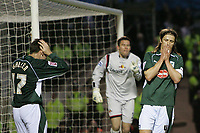 Photo: Lee Earle.<br /> Plymouth Argyle v Watford. The FA Cup. 11/03/2007.Plymouth players Kevin Gallen (L) and Lilian Nalis (R) look dejected after going close on goal.