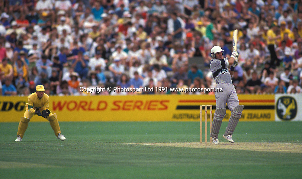 Martin Crowe batting, New Zealand Black Caps v Australia, one day international cricket, 1991. Photo: PHOTOSPORT