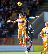 Dundee's Darren O'Dea and Motherwell's Scott McDonald battle in the air - Motherwell v Dundee in the Ladbrokes Scottish Premiership at Fir Park, Motherwell. Photo: David Young<br /> <br />  - © David Young - www.davidyoungphoto.co.uk - email: davidyoungphoto@gmail.com