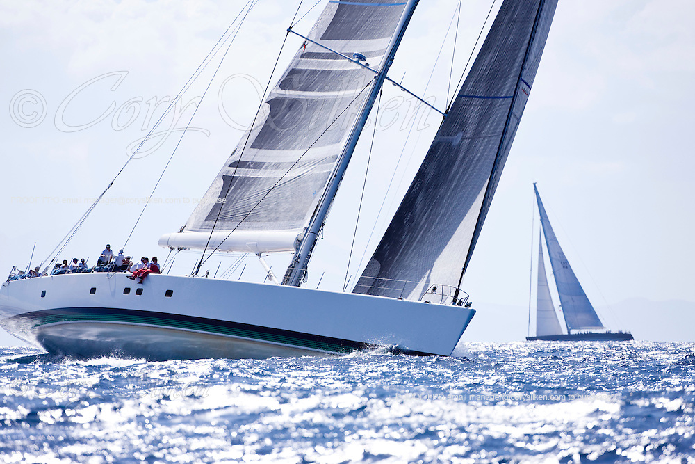 Visione and P2 sailing in The Superyacht Cup regatta, Antigua 2010, race one.