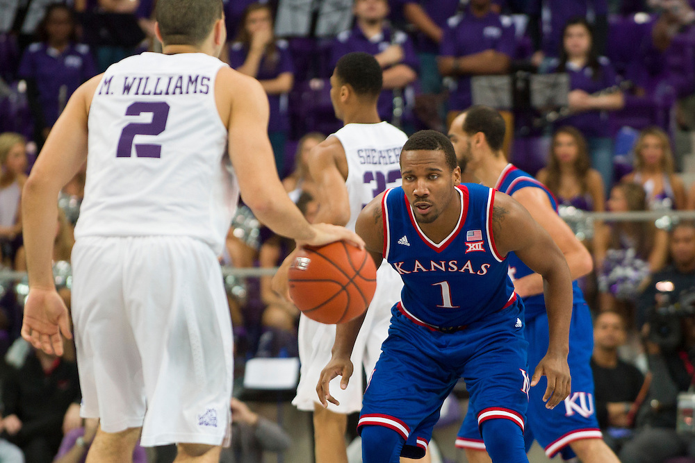 FORT WORTH, TX - FEBRUARY 6: Wayne Selden Jr. #1 of the Kansas Jayhawks defends against the TCU Horned Frogs on February 6, 2016 at the Ed and Rae Schollmaier Arena in Fort Worth, Texas.  (Photo by Cooper Neill/Getty Images) *** Local Caption *** Wayne Selden Jr.