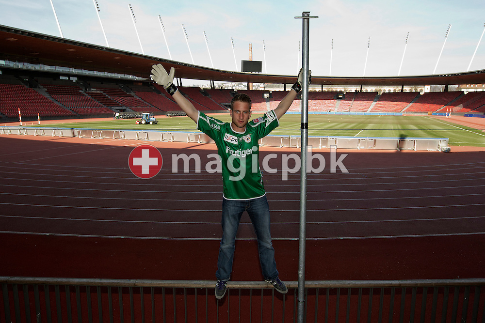 "FC Thun soccer goalkeeper David DA COSTA of Switzerland is posing for a photo in the ""Suedkurve"" sector (sector of home team FC Zuerich's hard core fans) at the Letzigrund stadium in Zurich, Switzerland, Tuesday, March 22, 2011. Da Costa played for FC Zuerich from 1992 to 2008 and watched many games form the ""Suedkurve"" sector. (Photo by Patrick B. Kraemer / MAGICPBK)"