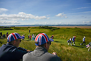 GB&I fans watch on as the players walk to the 11th green during the Sunday Foursomes in the Walker Cup at the Royal Liverpool Golf Club, Sunday, Sept 8, 2019, in Hoylake, United Kingdom. (Steve Flynn/Image of Sport)