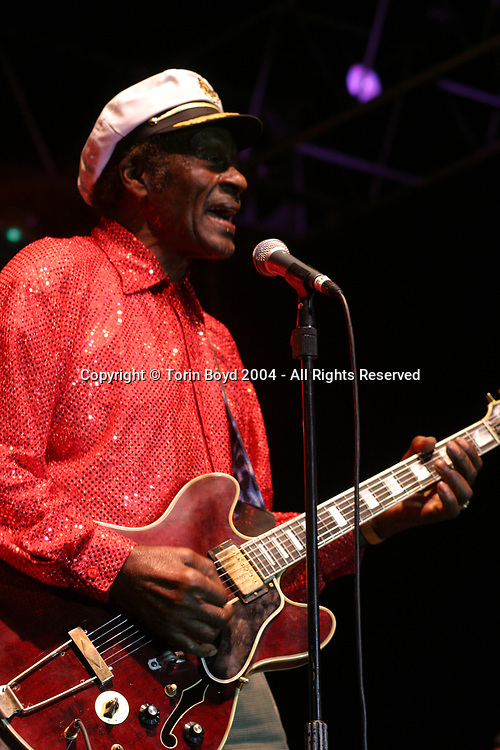 """Legendary rocker Chuck Berry, who was born in St. Louis, Missouri on Oct. 18, 1926 and best known for his classic hits """"Johnny B. Goode"""", """"Maybellene"""" and """"Memphis"""" was recently ranked by Rolling Stone magazine as no. 5 on their list of the 50 greatest rock artists of all time (Spring 2004). He is seen here performing at the 7th Annual Doheny Blues Festival in Dana Point, California on September 18, 2004."""