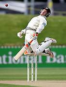 NZ wicketkeeper Brendon McCullum leaps to avoid a bouncer on day two of the second cricket test match between the Black Caps and Sri Lanka at the Basin Reserve, Wellington, New Zealand, on Saturday 16 December, 2006. Photo: Andrew Cornaga/PHOTOSPORT<br />