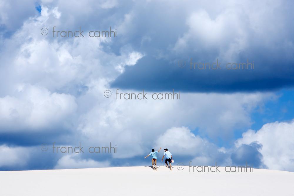 view of lagoa azul in desert sand dunes of the Lencois Maranheses National Park in brazil
