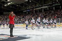 KELOWNA, CANADA - JANUARY 7: Rachel Layne sings the national anthem at the Kelowna Rockets against the Kamloops Blazers on January 7, 2017 at Prospera Place in Kelowna, British Columbia, Canada.  (Photo by Marissa Baecker/Shoot the Breeze)  *** Local Caption ***