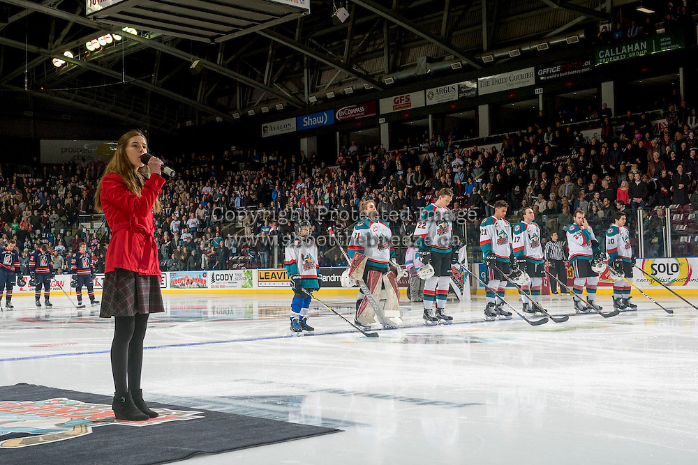 KELOWNA, CANADA - JANUARY 7: Rachel Layne sings the national anthem at the Kelowna Rockets against the Kamloops Blazers on January 7, 2017 at Prospera Place in Kelowna, British Columbia, Canada.  (Photo by Marissa Baecker/Shoot the Breeze)  *** Local Caption ***