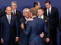 (From L-R) Italian Prime Minister Enrico Letta, Austrian Chancellor Werner Faymann, Luxembourg Prime Minister Jean-Claude Juncker, Polish Prime Minister Donald Tusk, Bulgarian Prime Minister Plamen Oresharski, Slovakian Prime Minister Robert Fico and British Prime Minister David Cameron pose for a family photo during an European Union summit in Brussels, Belgium, 24 October 2013.