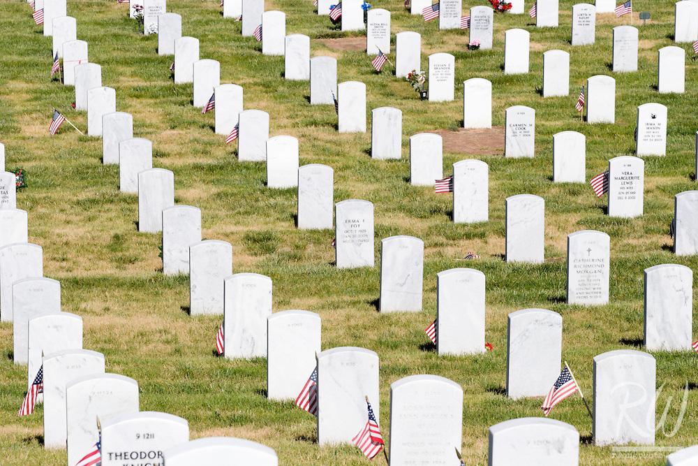 Rows of Headstones, Santa Fe National Cemetery, New Mexico