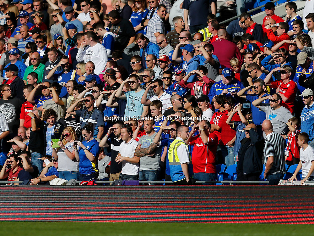 5th October 2013- Barclays Premier League - Cardiff City Vs Newcastle United - Cardiff City fans shield their eyes against the sun - Photo: Paul Roberts / Offside.