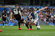 Blackburn Rovers&rsquo; Craig Conway looks to go past Wigan Athletic&rsquo;s Rob Kiernan. Skybet football league championship match, Blackburn Rovers v Wigan Athletic at Ewood Park in Blackburn, England on Saturday 3rd May 2014.<br /> pic by Chris Stading, Andrew Orchard sports photography.