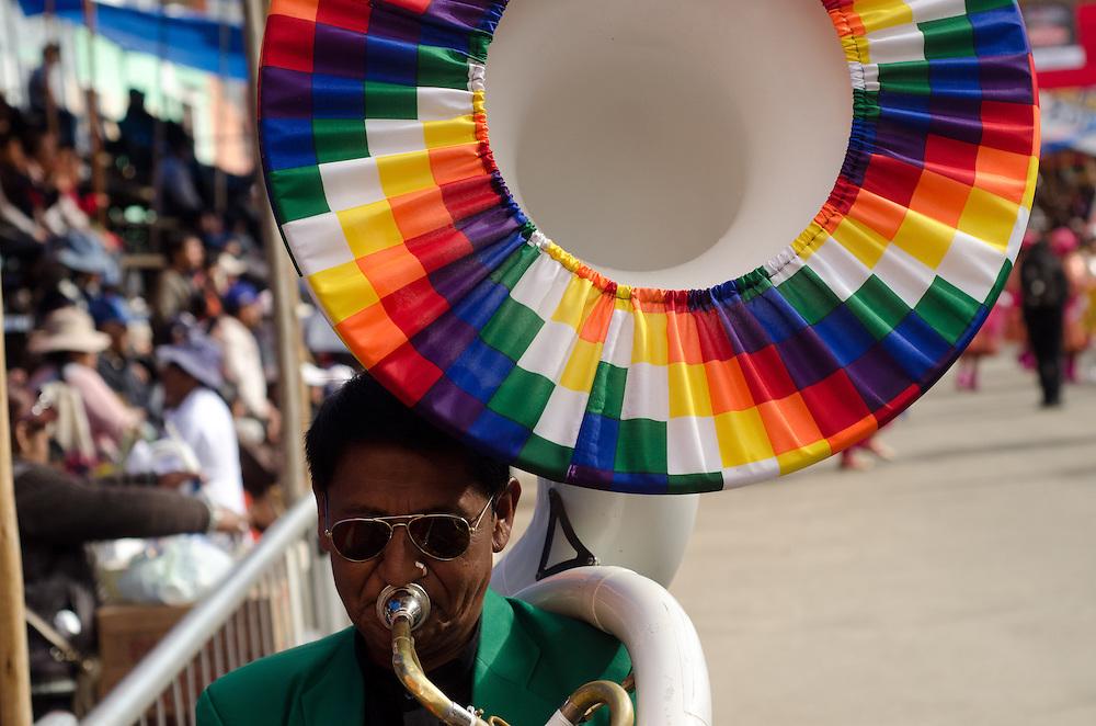 A tuba player at Carnival in Oruro, Bolivia.