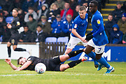 Macclesfield Town forward Arthur Gnahoua challenge the opponentduring the EFL Sky Bet League 2 match between Macclesfield Town and Mansfield Town at Moss Rose, Macclesfield, United Kingdom on 16 November 2019.