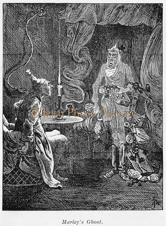 Marley's ghost appearing to Scrooge. Illustration for Charles Dickens (1812-1870) 'A Christmas Carol', London 1843-1844