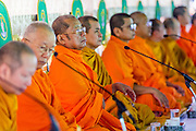 """23 APRIL 2013 - BANGKOK, THAILAND:  Buddhist monks lead the opening ceremony to mark Bangkok as the World Book Capital City 2013. UNESCO awarded Bangkok the title. Bangkok is the 13th city to assume the title of """"World Book Capital"""", taking over from Yerevan, Armenia. Bangkok Governor Suhumbhand Paribatra announced plans that the Bangkok Metropolitan Administration (BMA) intends to encourage reading among Thais. The BMA runs 37 public libraries in the city and has modernised 14 of them. It plans to build 10 more public libraries every year. Port Harcourt, Nigeria will be the next World Book Capital in 2014. .PHOTO BY JACK KURTZ"""
