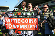 FGR fans with Forest Green Rovers Shamir Mullings(18) during the Vanarama National League Play Off second leg match between Forest Green Rovers and Dagenham and Redbridge at the New Lawn, Forest Green, United Kingdom on 7 May 2017. Photo by Shane Healey.