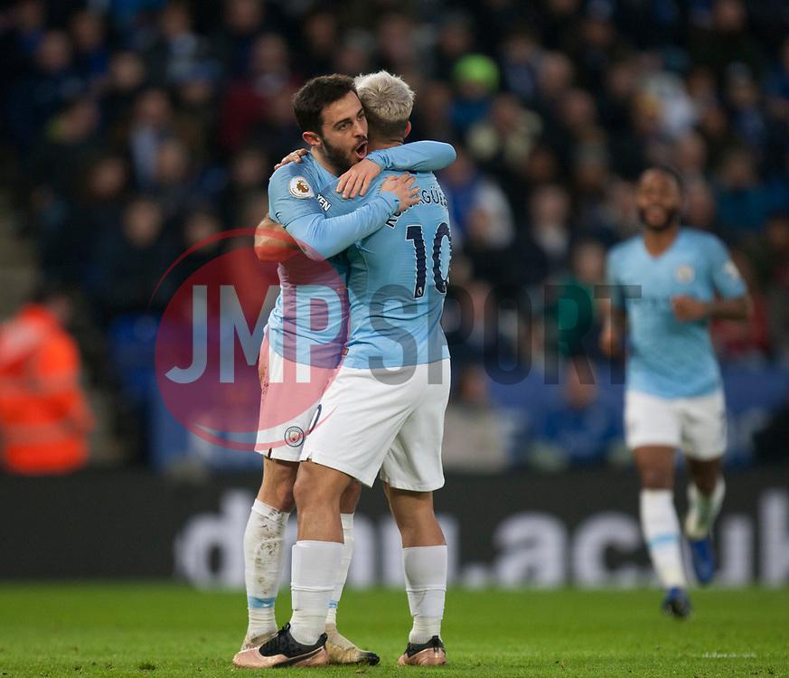 Bernardo Silva of Manchester City (L) celebrates after scoring his sides first goal - Mandatory by-line: Jack Phillips/JMP - 26/12/2018 - FOOTBALL - King Power Stadium - Leicester, England - Leicester City v Manchester City - English Premier League