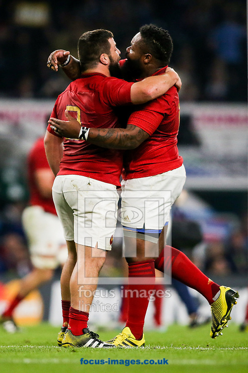 Rabah Slimani of France (left) is congratulated on scoring a try by Mathieu Bastareaud of France (right) during the 2015 Rugby World Cup match at Twickenham Stadium, Twickenham<br /> Picture by Andy Kearns/Focus Images Ltd 0781 864 4264<br /> 19/09/2015