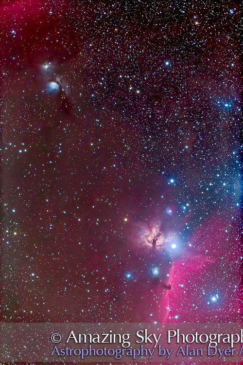 The area around the Belt of Orion, with the Horsehead and Flame Nebulas at bottom flanking the bright star Zeta Orionis, aka Alnitak, with Messier 78 at upper left. Taken from home, on a slightly hazy and frosty night, Feb 7, 2013, using the Hutech modified Canon 6D at ISO 800 and the TMB 92mm apo refractor at f/4.8 for a stack of 6 x 7 minute exposures.